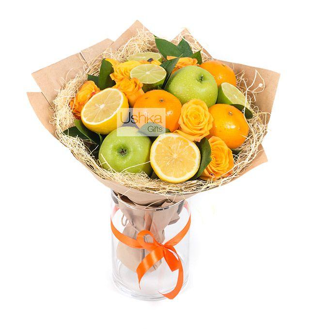 Ushka Gifts | Фруктовый букет «Рыжий апельсин»