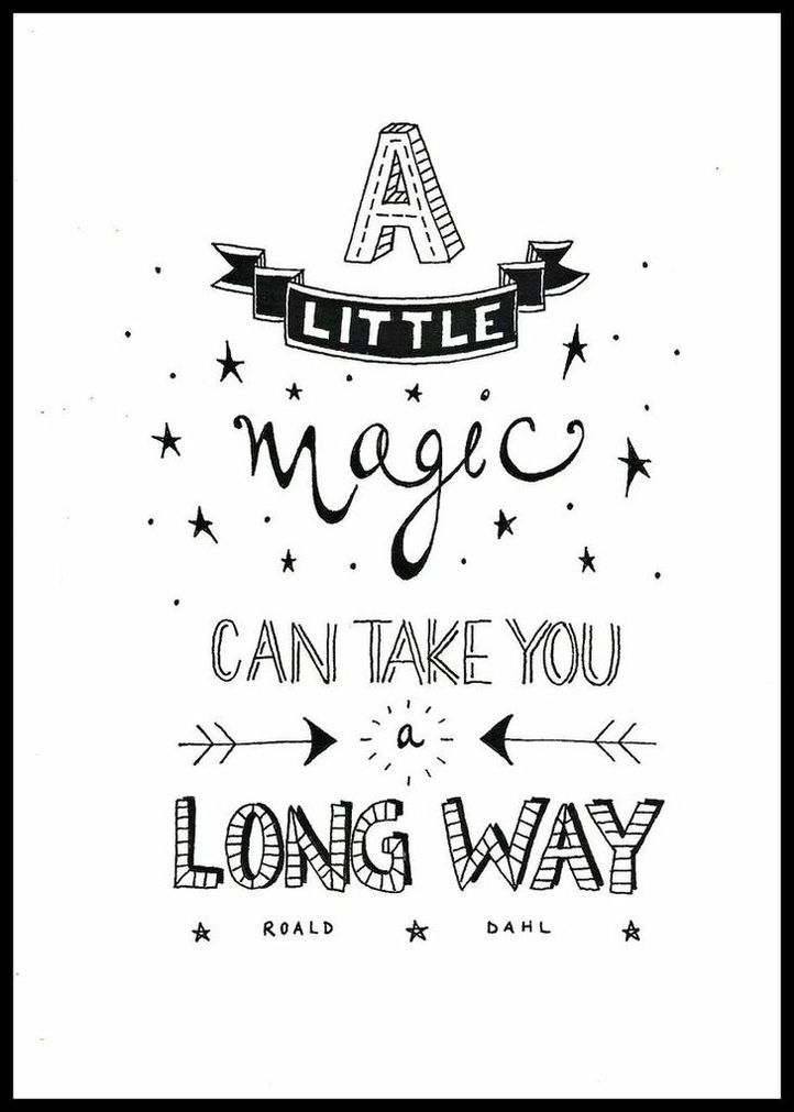 Limited edition black and white typography print - A Little Magic. 12.00, via Etsy.