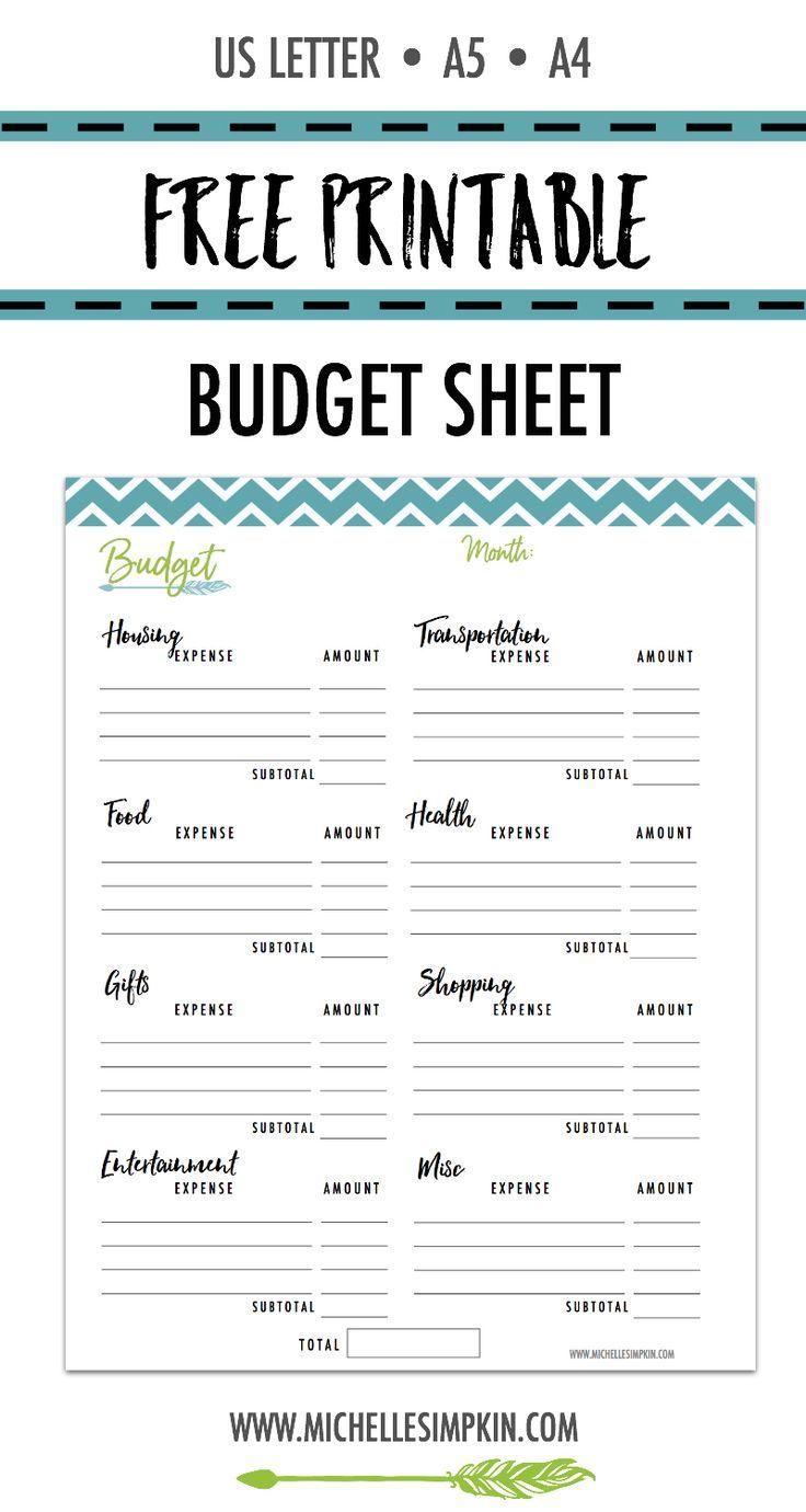 printable budget sheet