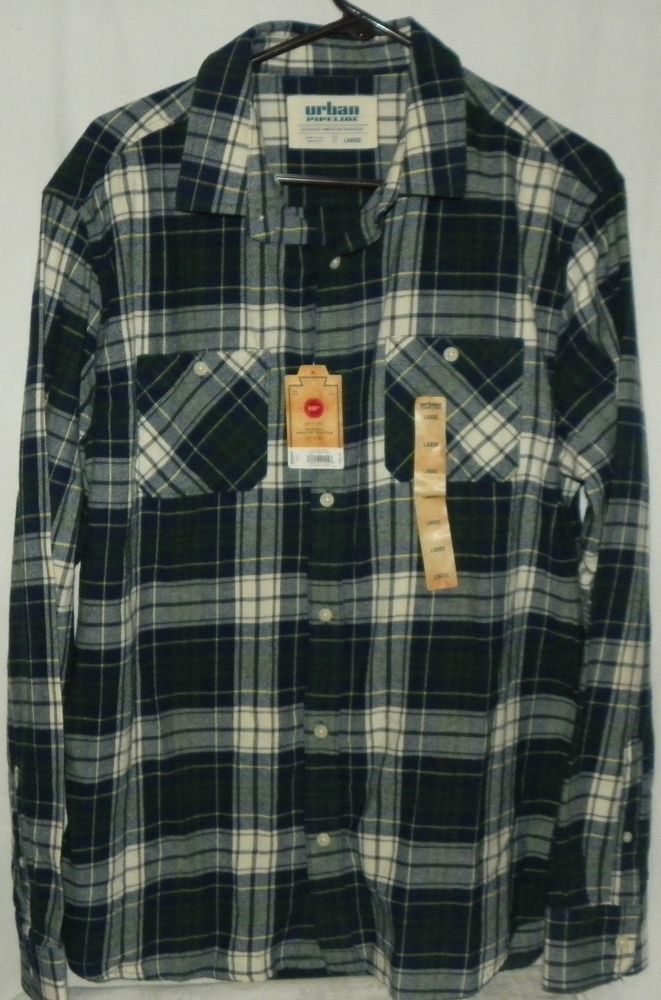 Urban Pipeline Plaid Flannel Shirt Button Front Blue Green White Size Large  NEW  UrbanPipeline  ButtonFront 02bf7a2c70c9
