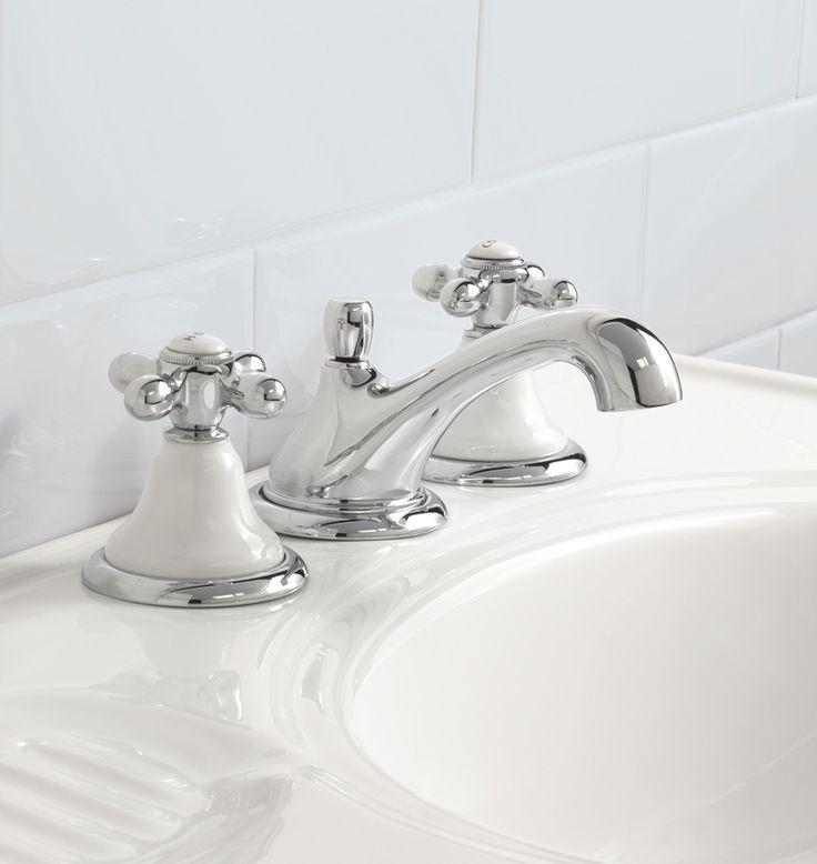 dunbar white porcelain cross handle widespread bathroom