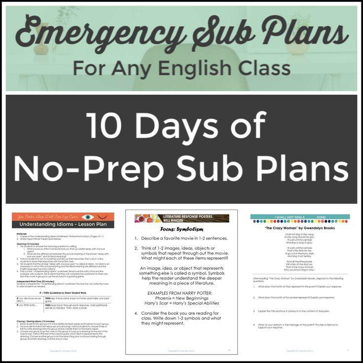 English Language Arts Sub Plans