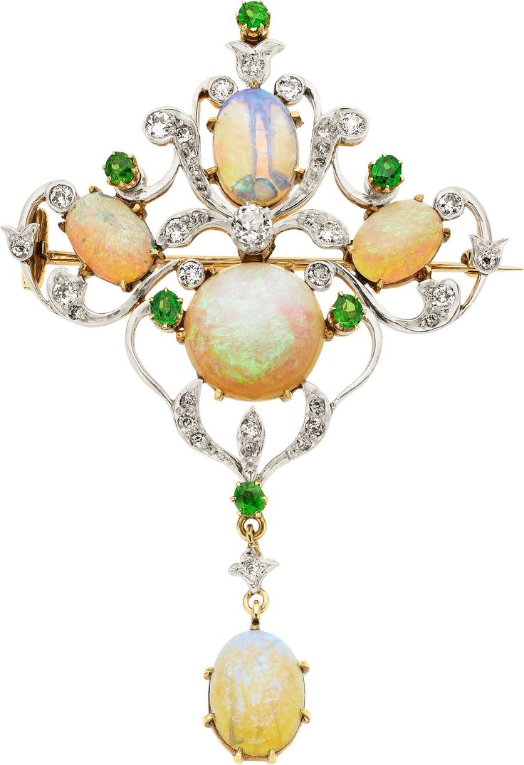 Antique Opal, Diamond, Demantoid Garnet, Platinum-Topped Gold Brooch, Circa 1905