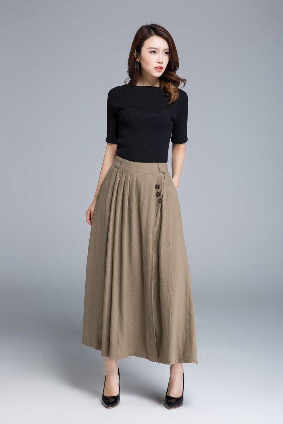 Khaki skirt linen skirt pleated skirt pocket skirt button