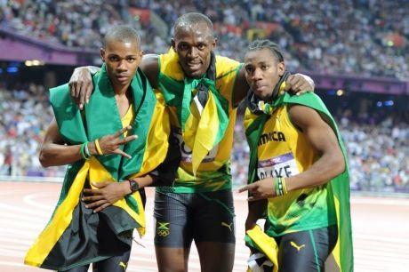 The winning trio (from left) Warren Weir (bronze), Usain Bolt (gold), Yohan Blake (silver) - Ricardo Makyn/Sta