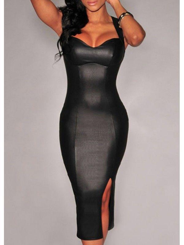 Modern Dresses: Slit Design Cutout Back Black Dress