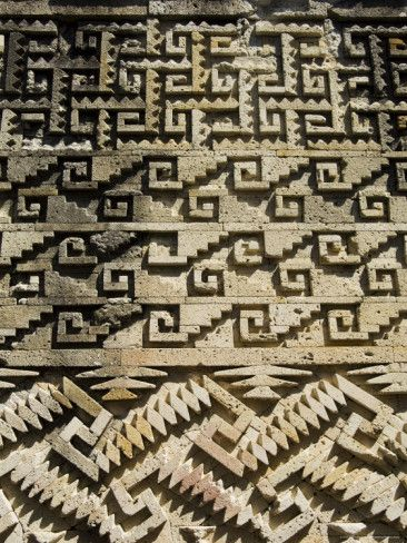 Geometric Carving, Palace of the Columns, Mitla, Oaxaca, Mexico.