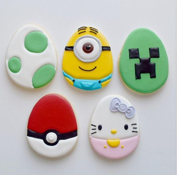 Character eggs decorated cookies for Easter!  Hello Kitty, Minecraft, Minion from Despicable Me, Pokemon #decoratedEastercookies from Jessica Edwards.