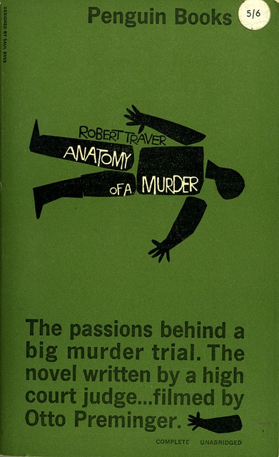 Anatomy of a Murder. 1960 cover, Saul Bass.