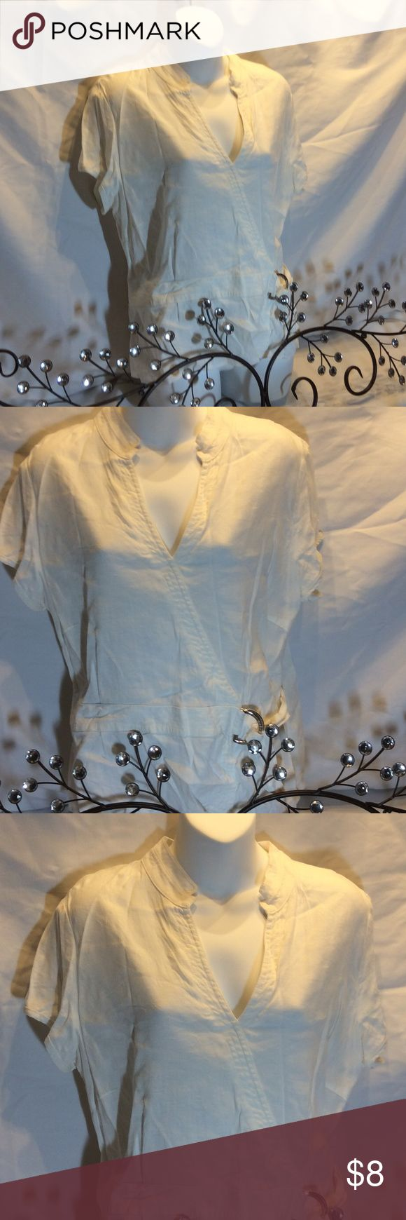 Marks & Spencer Top Ivory top with silver loop on the side engraved with Autograph and zips on the side.  68% linen, 30% viscose & 2% elastase Lycra Marks & Spencer Tops Blouses