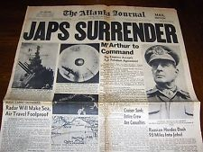 AUG. 15, 1945 ATLANTA NEWSPAPER: WWII ENDS AS JAPAN SURRENDERS
