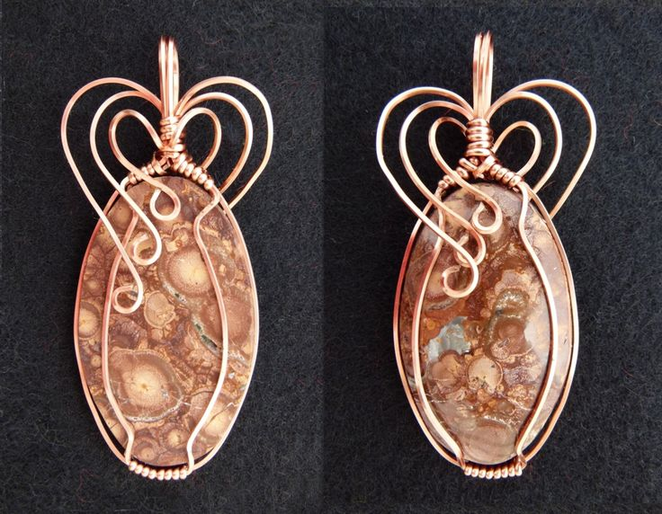 Custom made wire wrapped Bird Eye Rhyolite cabochon. Hand crafted by Kathy Stewart - Glam N Glitter Eclectic Jewelry.