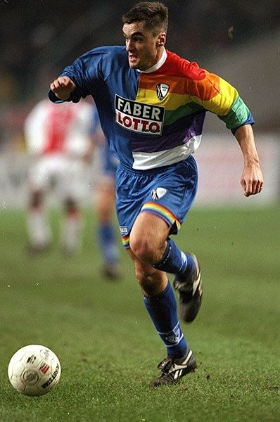 VfL Bochum, 1997 OpiumEater reminds us of VfL Bochum's technicolour attire from 1997. Handy as it is to wear a paint chart, the idea didn't stick. Not that Bochum's kits have improved: this distressed design is rather, umm, distressing