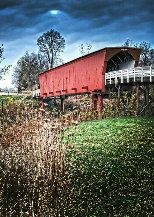 """The Roseman Covered Bridge, Winterset, Iowa, 1883. Francesca: """"I want to keep it forever. I want to love you the way I do now the rest of my life. Don't you understand... we'll lose it if we leave. I can't make an entire life disappear to start a new one. All I can do is try to hold onto to both. Help me. Help me not lose loving you.""""_ The Bridges of Madison County"""