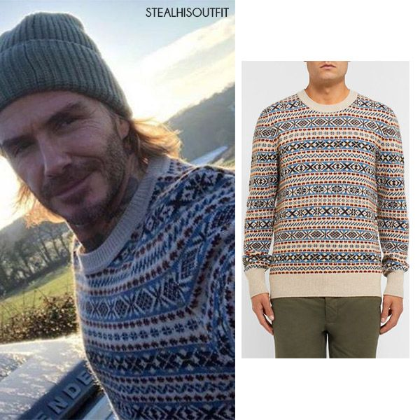 David Beckham in white and blue fair isle knit sweater