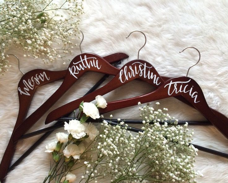 WEDDING HANGERS // Personalized Bridal Party Hangers, Bridesmaid Gift, Maid of Honor Gift, Hand Lettered Calligraphy, Wedding Hangers by FoxandSparrowDesign on Etsy https://www.etsy.com/listing/252337915/wedding-hangers-personalized-bridal