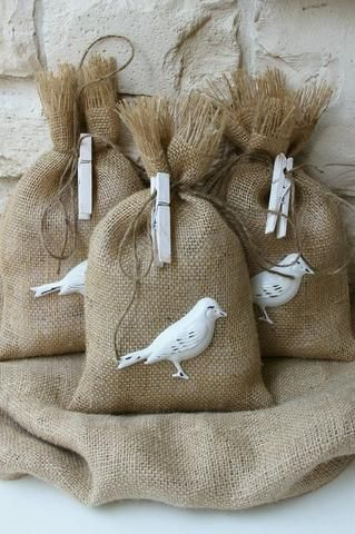 Burlap Bag Bird Seed Wedding Favor