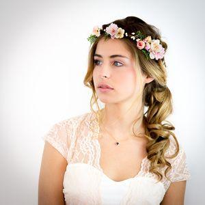 couronne de fleurs cheveux mariage p che rose et ivoire couronnes de fleurs pinterest. Black Bedroom Furniture Sets. Home Design Ideas