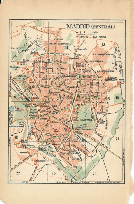 1930 Madrid Spain Antique Map by Figure10 on Etsy