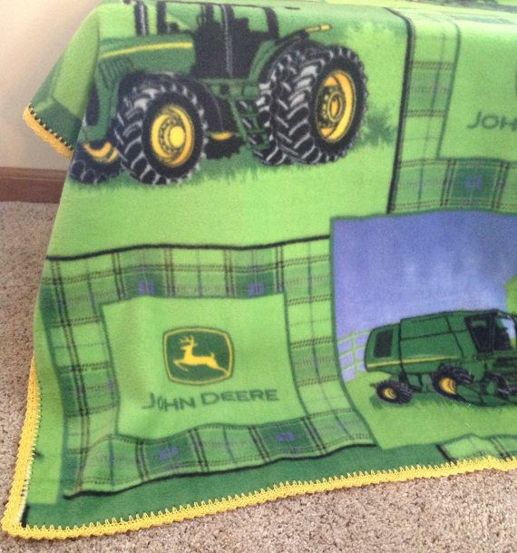 Crochet Pattern For John Deere Afghan : Crochet Baby John Deere Blanket Fleece with crochet lace ...