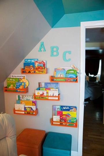 Cute idea to store and showcase books in a nursery, kid's room, or playroom.