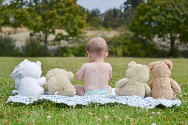 A boy and his bears. My nephew, Leopold's, 9 month photo shoot. www.melisaowens.ca #Baby #bears #teddy #photography #photoshoot #field #nephew #family #love #nikon