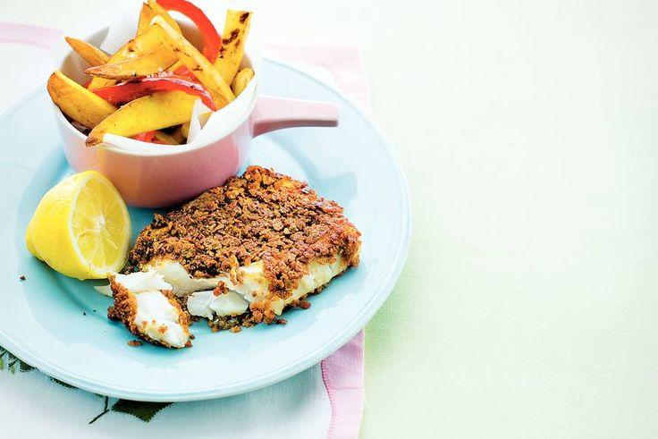 Kijk wat een lekker recept ik heb gevonden op Allerhande! Krokante vis met gele en rode friet