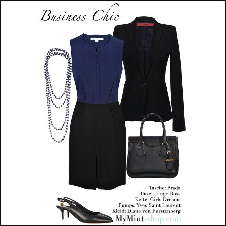 Business Chic Tasche: #Prada Kleid: #DianevonFurstenberg Blazer: #HugoBoss Slingback Pumps: #YvesSaintLaurent Kette: #GirlsDreams