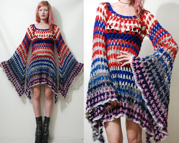 CROCHET DRESS Vintage Colourful Granny Square Bell by cruxandcrow, $220.00