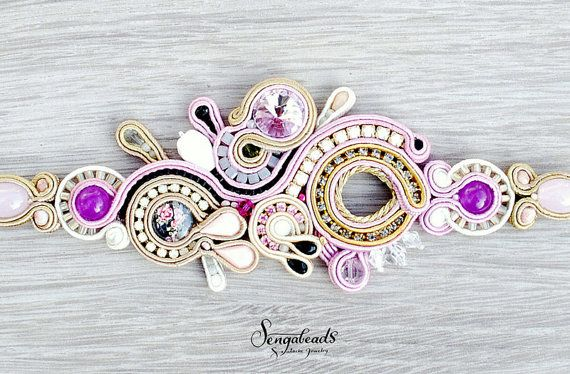 Luxurious handmade soutache bracelet with orchid purple, gold and white shades soutache braid, preciosa crystal cup chain, Swarovski crystals and glass beads.  Total length is around 7.99 inch ( ca. 20,3 cm ). You can adjust the lenght to your wrist. Widest part is 1,77 inch (4,5 cm).  Back covered with very soft ultra suede.  To view the rest of my jewelry creations please visit : http://www.etsy.com/shop/Sengabeads  Each piece of Sengabeads Jewelry is hand crafted with love and care :))…