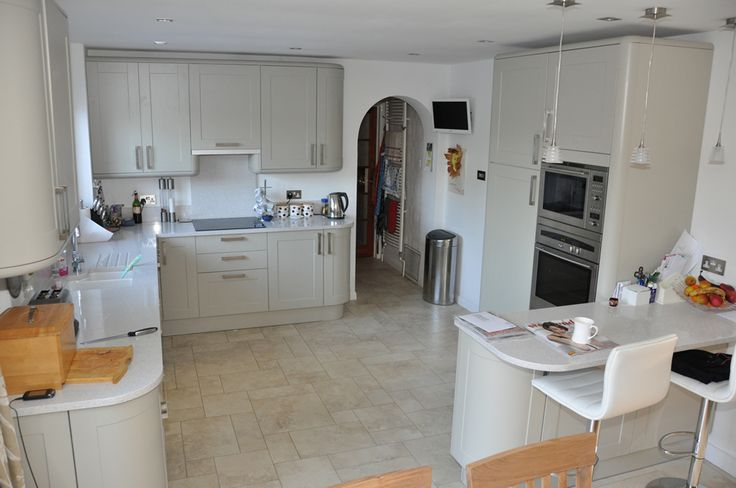 Howdens Burford Grey with light surfaces and floor - too wishy washy.