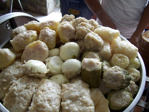Steamed dumpling (siomay Bandung) before it's cut and added peanut sauce and sweet soy sauce