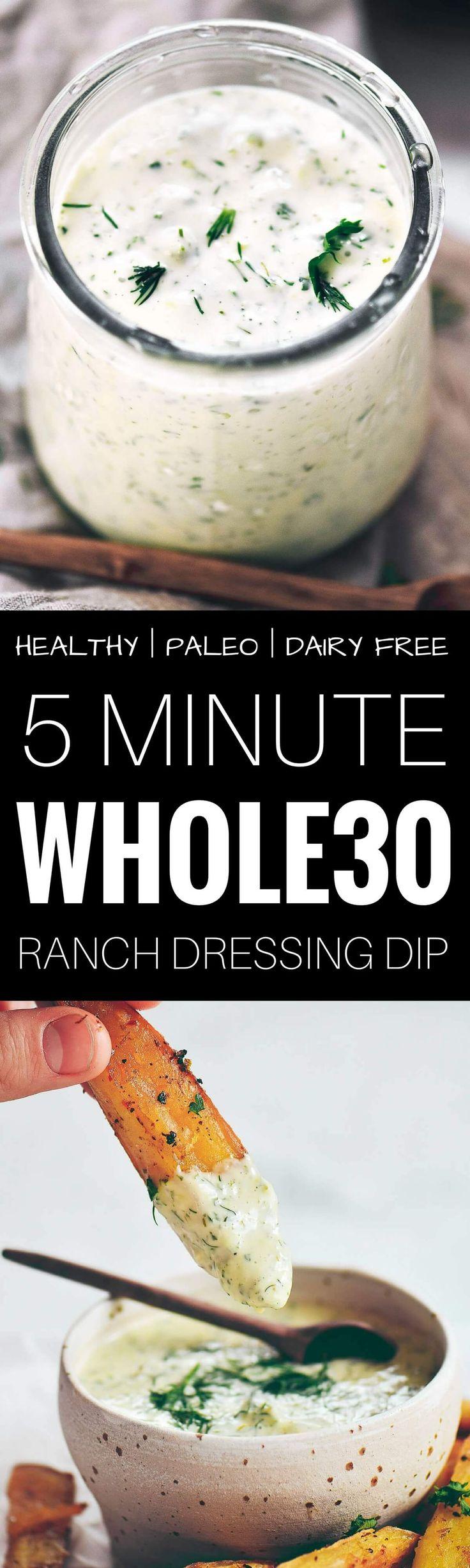 Creamy whole30 ranch dressing dip. Sub vegan mayo