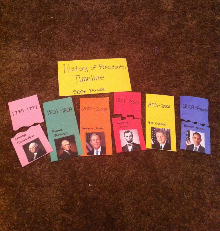 "This is a history work job intended for 2nd grade called ""History of Presidents Timeline: Sort Puzzle."" Students have to sort the presidents with their dates of presidency in chronological order. The colors and puzzle pieces should match for students to self-check. There are numbers on the back to check for the order. There are also quick facts on the back about each president."