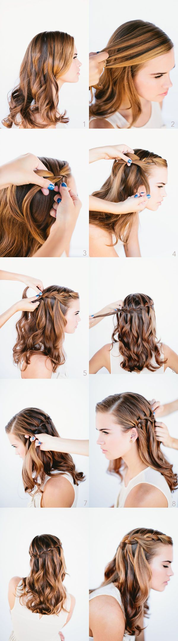 Waterfall Braid Wedding Hairstyles for Long Hair-- Beach hair! #wedding #inspiration #details #hair #beach #beachhair    This would be cute for Beth's wedding :)
