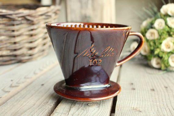 Melitta Coffee Filter - Vintage Ceramic Pour Over Coffee Cone - Vintage Coffee Maker - Coffee Dripper - Coffee Filter 102