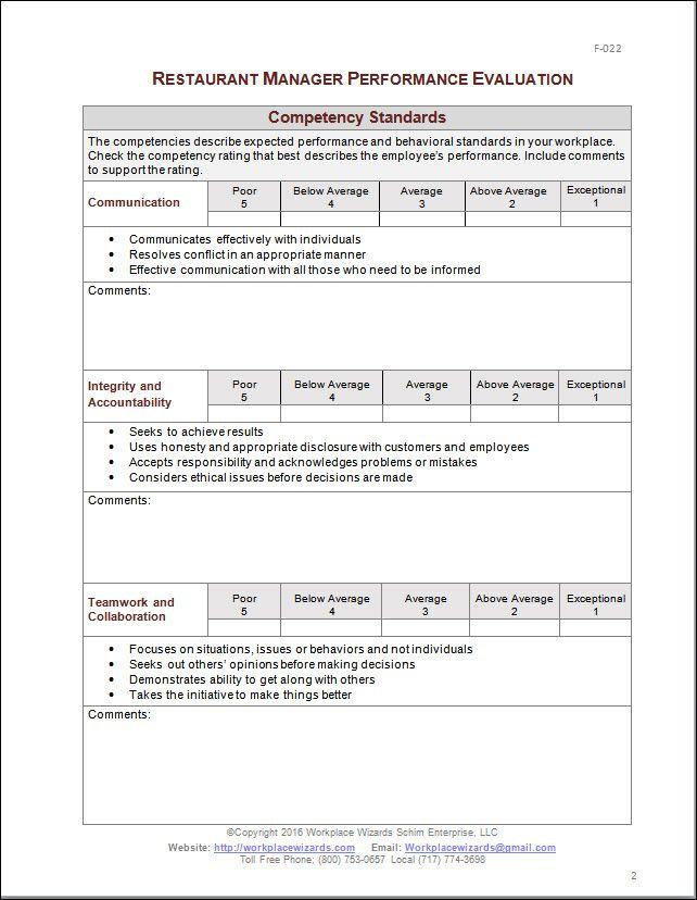 Restaurant Manager Performance Evaluation Form Eval
