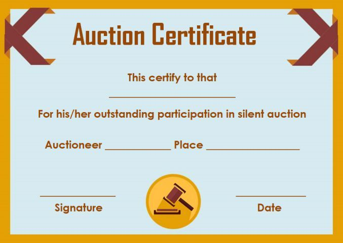 Silent auction donation certificate