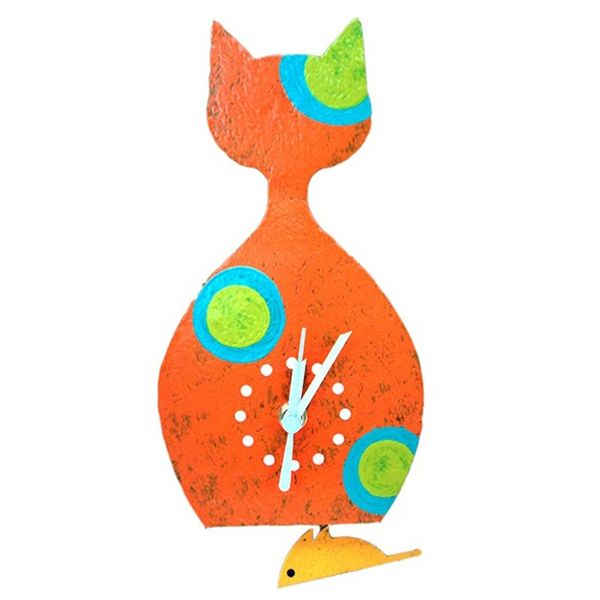 Oxidos Cat Wall Clock - Orange