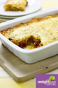 Zucchini & Chorizo Slice. #HealthyRecipes #DietRecipes #WeightLossRecipes weightloss.com.au