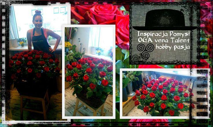 Kosz czerwonych róż.