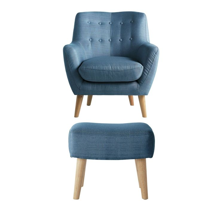 199 Hygena Otis Fabric Chair and Footstool - Blue. in Home, Furniture & DIY, Furniture, Sofas, Armchairs & Suites | eBay
