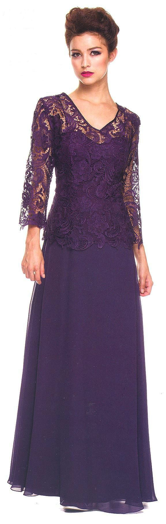 Mother of the Bride Evening Dresses<BR>ana5116<BR>Sheer floral lace scoop neckline over sweetheart bodice with 3/4 sleeves to ribbon waist.