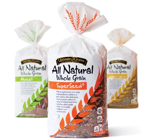 Ultimate Grains bread packaging