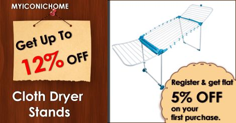 12% offer on Bathla Cloth Drying in myiconichome http://www.myiconichome.com/…/104-bathla-cloth-drying-stand… and 10% offer on Apple style homes Cloth Dryer. Aditional 5% offer on First purchase. http://www.myiconichome.com/…/104-bathla-cloth-drying-stand…