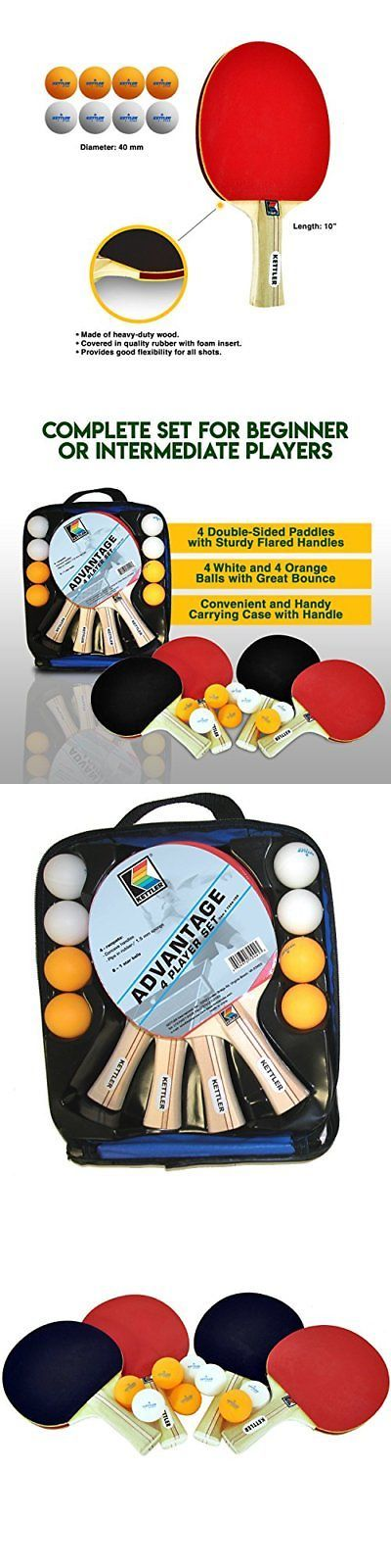 Sets 158955: Kettler Advantage Indoor Table Tennis Bundle: 4 Player Set (4 Rackets Paddles An -> BUY IT NOW ONLY: $32.49 on eBay!