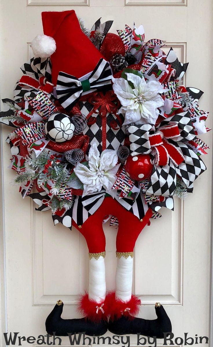 XL Holiday Deco Mesh Harlequin Elf Wreath