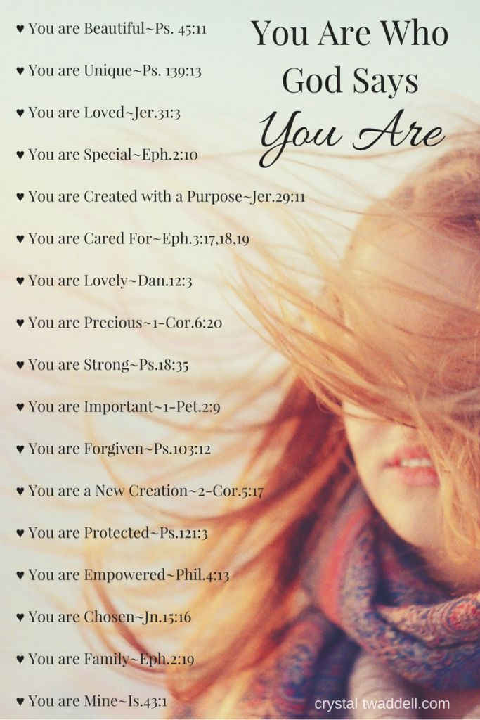 You are who God says you are...Lovely, Forgiven, Chosen, Protected