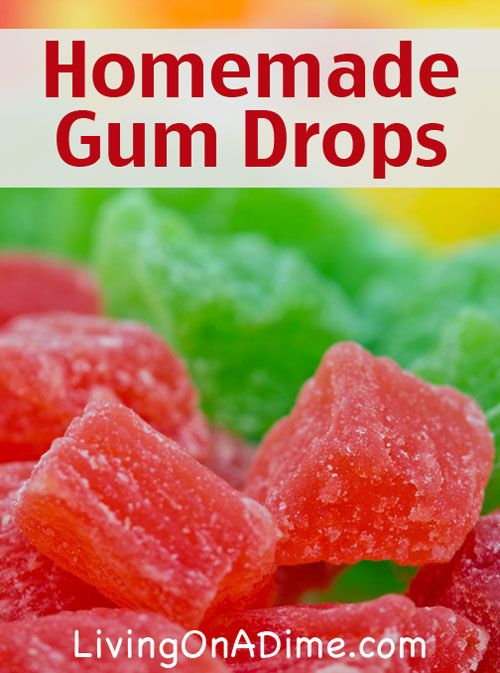Homemade Gum Drops    1 cup applesauce* 1 cup sugar 1 sm. pkg. fruit gelatin (3 oz.) extra sugar for coating  Combine applesauce and sugar in a saucepan. Bring to a boil and cook 2 minutes.  Dissolve the gelatin in the applesauce mixture. Pour into an 8×8 inch pan. After 24 hours, cut into 1 inch squares and roll in sugar. Roll in the sugar a second time 24 hours later. Makes 64 pieces.