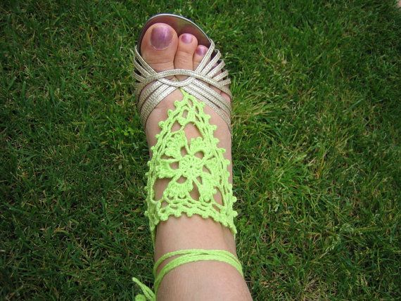 Barefoot sandal hand crochet new green by DEMET on Etsy, $18.00